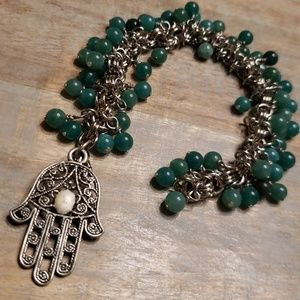 Jewelry - Hamsa Hand emerald bead bracelet